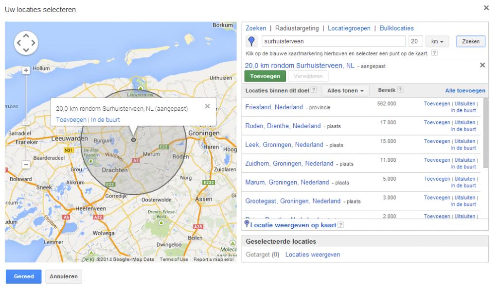 Lokaal adverteren in Google Adwords